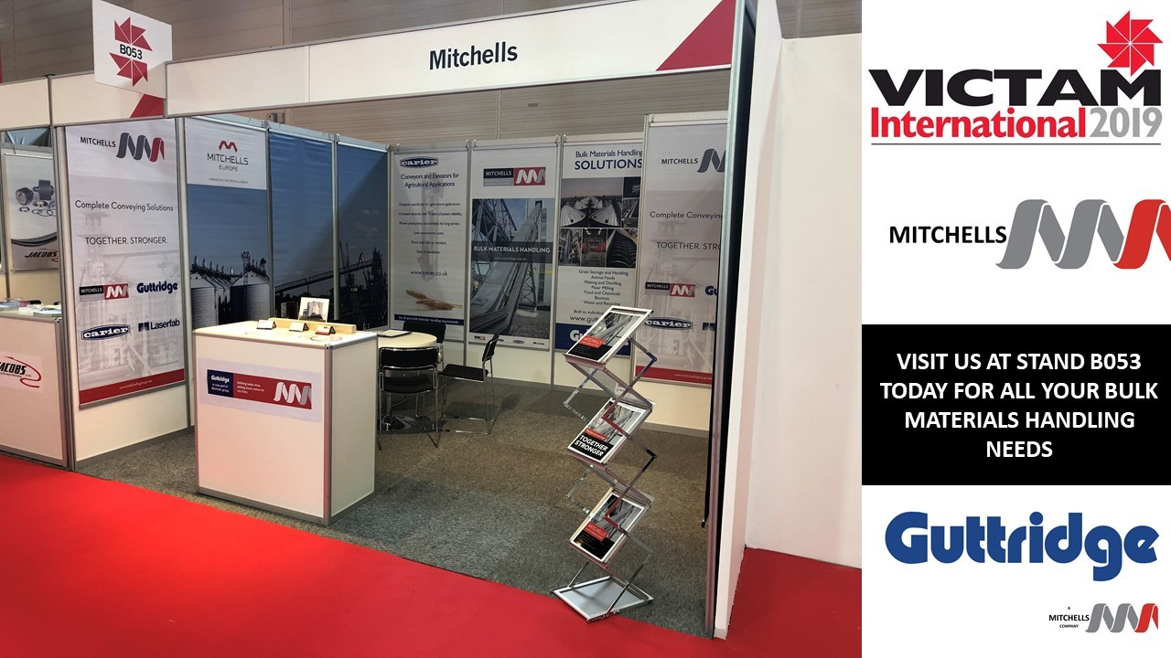 Mitchells and Guttridge Ltd fly their combined flag at Victam International 2019